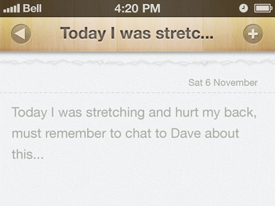 Pilates Add Note pilates iphone app wood note paper