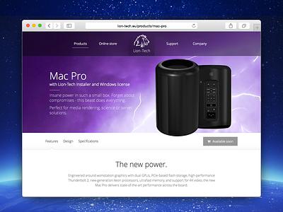 Lion-Tech web page: Mac Pro webste web design
