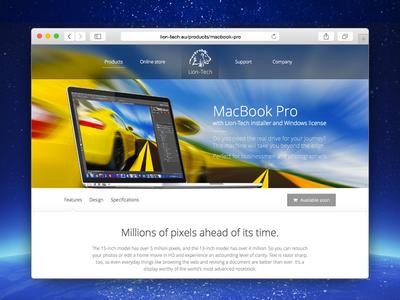Lion-Tech web page: MacBook Pro web design website