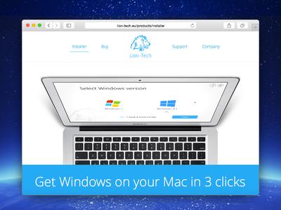 Lion-Tech Installer web page os x mac windows installer website design web