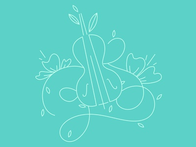 Illustration for a logo flowers cello leaves illustration music summer