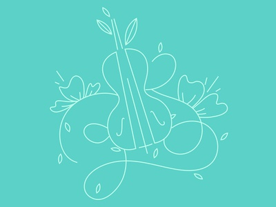Illustration for a logo flowers cello leaves illustration music summer