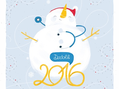 Wish card snowman illustration 2016 wish card