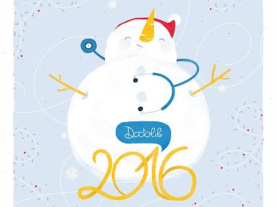 Wish card snowman illustration 2016 wish card