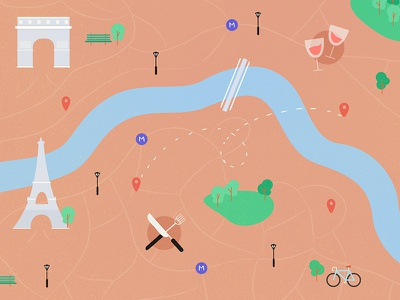 Illustrations map bike monuments food paris city illustrations