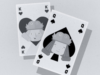 Little King & Queen playing cards queen king character design characters