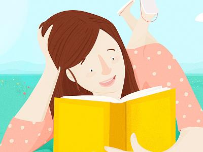 Summer colors book summer girl illustration