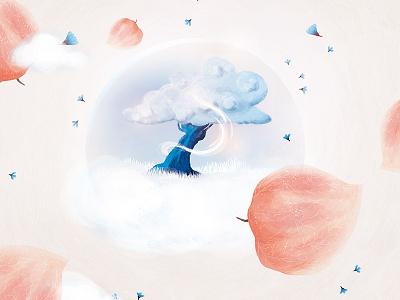 L'amulette blue pink clouds colors pastel illustration print flowers physallis magic tree