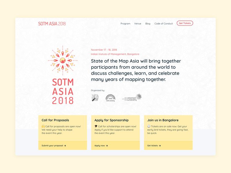 SOTM Asia landing website design sass bootstrap 4 topography minimal landing page website uidesign