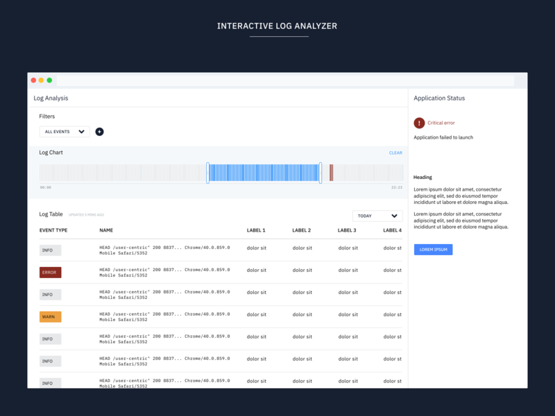 Interactive log analyzer flat web design typography uidesign web minimal ux ui