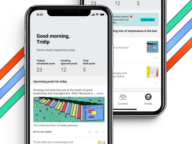Home dashboard for mobile. social media buffer buffer app mobile app flat uidesign minimal app ux ui