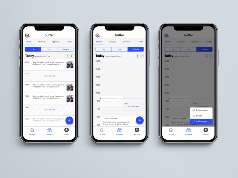 Overview of scheduled content : Buffer case study material design iphone iphone 10 apple design ios 12 buffer social media design mobile app flat uidesign minimal app ux ui