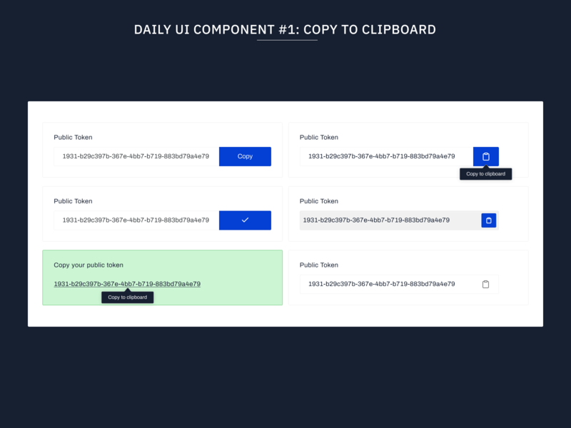 Daily UI Components #1: Copy To Clipboard component library flat design web design components ux typography web uidesign minimal clipboard copy design system ui