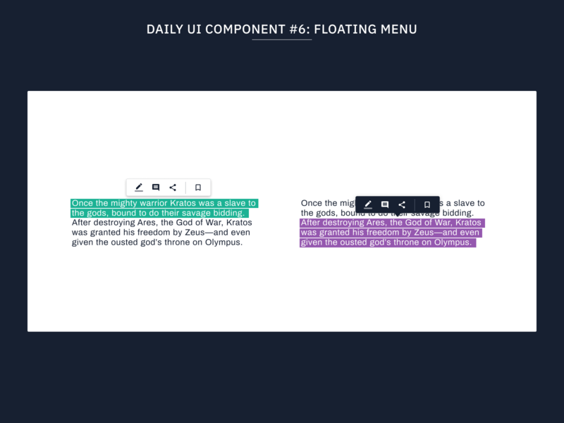 Daily UI Component #6: Floating Menu typography design web flat uidesign minimal ux ui editable text box web design design systems design system ui components components component library