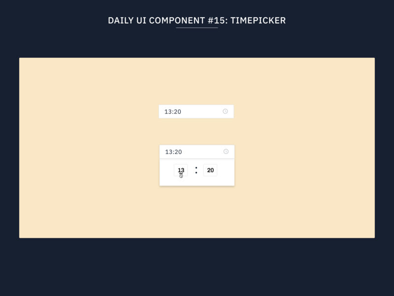 Daily UI Component #15: Timepicker web design web flat uidesign minimal ux ui time picker design systems design system component library components component
