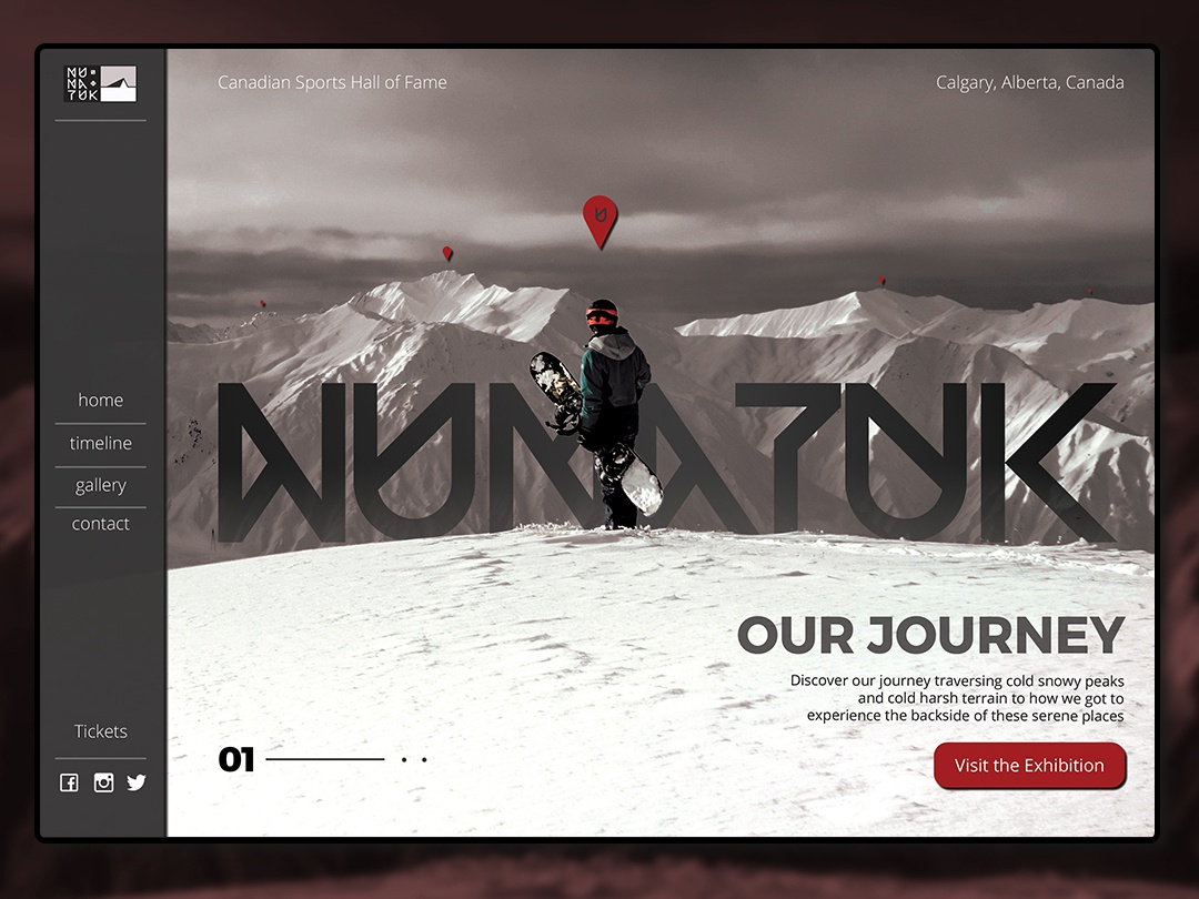 Nunatuk Landing Page jones burton backcountry ski snowboard web ux website uidesign typography logotype logo landing page designer design branding ui