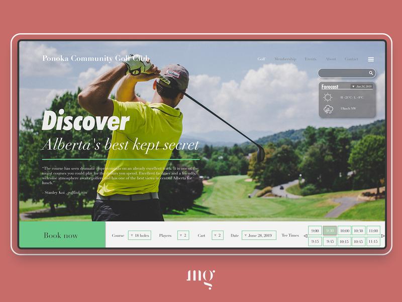 Golf course landing page golf website web typography landing page design branding ui