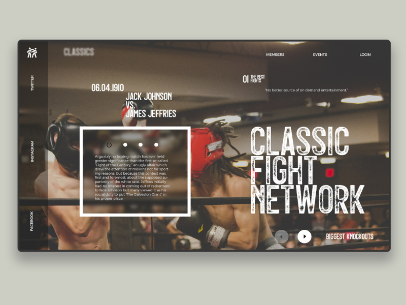 Classic fight network - Concept concept web designer ux fight boxing ufc webdesign ui design
