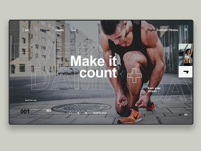 Make It Count - Dribbble fitness center fitness club fitness uidesign web concept logotype landing page designer branding website typography design ui