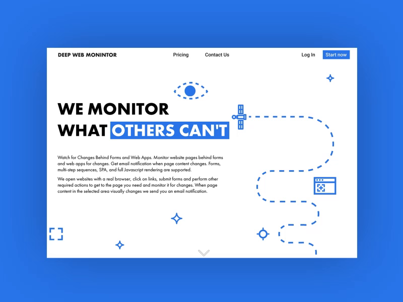 Landing page for Deep Web Monitor by Julia Sidorova on Dribbble