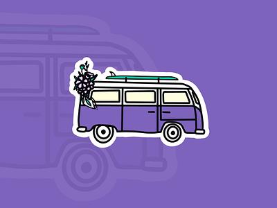 Take your motorhome and go surfing 🏄🏼♂️ instagram motorhome surfing surf bus sticker illustraion