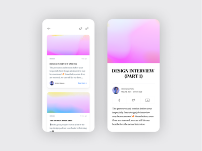 Blog post | Gradients lover gradients magazine design article blogger blog post mock up branding app ui minimal mobile cms blog gradient