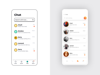 Chat | wireframe | mockup | Inspired by free UI kit inspired vector mobile design app chat minimal ui mock up