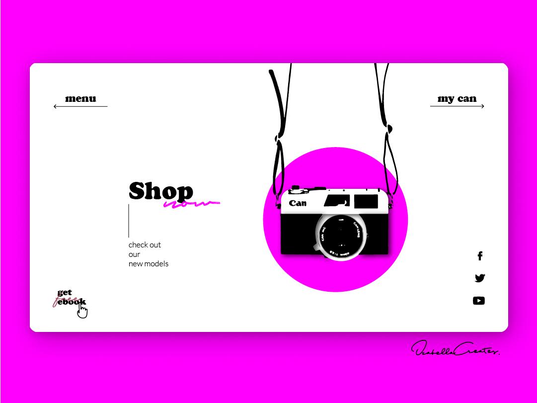 Cam Shop minimal simple colours vibrant cam newton pink typo cam desktop ui design website webside web mock up product ecommerce shop camer