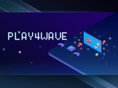 PLAY4WAVE screen for youtube typography cover art vector illustration