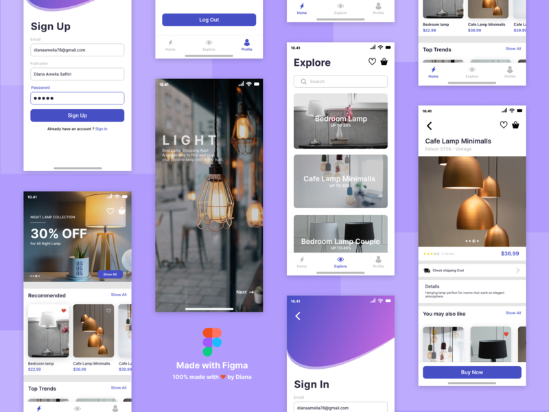 Light - Best Lamps Shopping App shopping ui lamps app design