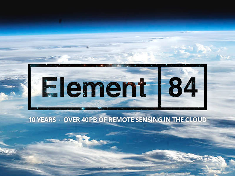 Element 84 - 10 Years of Bringing Remote Sensing to the Cloud branding company birthday anniversary data remote sensing cloud brand logo design element 84 e84