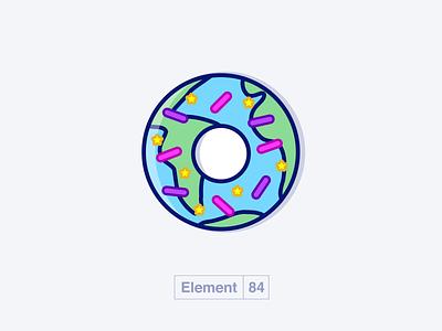 Mmmmm Earth Donut e84 element 84 10th birthday anniversary illustration design stars space donuts sprinkles donut earth