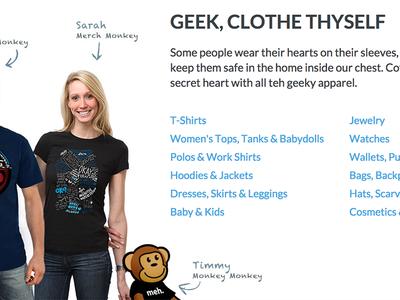 ThinkGeek Apparel Feature web ux apparel thinkgeek monkey timmy shopping ecommerce