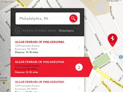 Ferrari Dealer Locator By Sean Hennessey On Dribbble