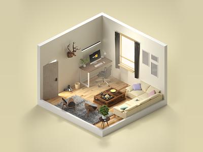lounge c4d 3d