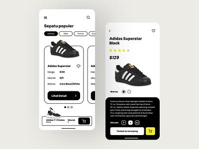 Shoes App shoes ios icons exploration app design black and white app ui design