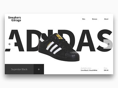 Sneakers Garage branding website web ui flat design