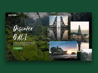 Discover Bali Design Concept indonesia bali trip travel typography web desgin website web ui  ux flat ui design