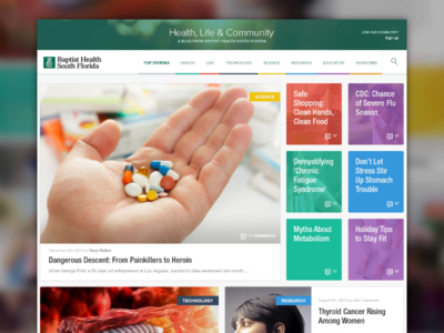 Health Life & Community Blog grid tiles vibrant colorful clean blog ui