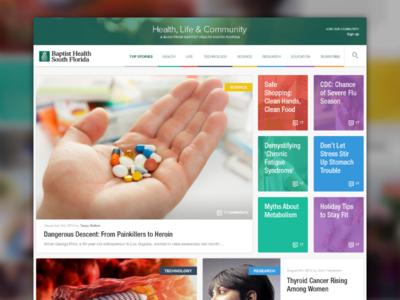 Health Life & Community Blog grid tiles vibrant colorful clean blog ui