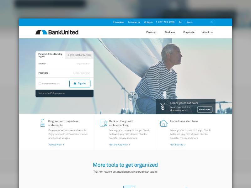 BankUnited Website Design icons site web finance bank interface ui