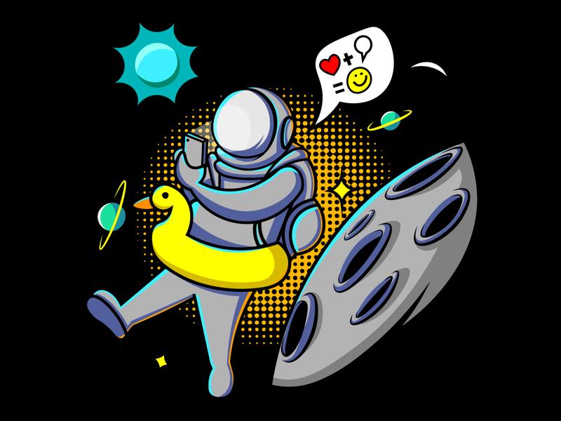 astronot asian nasa astronaut antariksa moons astronot mascotlogo logo logoinspiration vector tshirt design flat tshirt illustration design illustrator