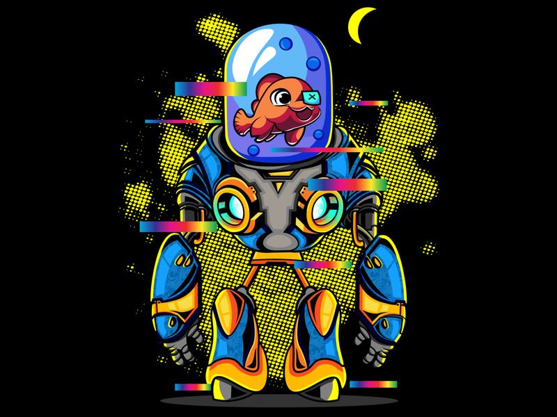 fish robot planet robotic illustration art vintage skull sketch flat tshirt design logo tshirt design illustration illustrator