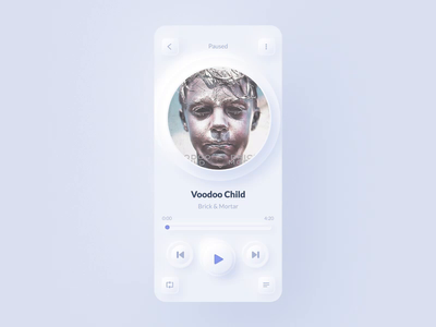 Neumorphic Music Player (light version) interaction animated concept simplicity white light ios uiux player ui ui minimalism minimal player neumorphic neumorph neumorphism music player music iphone app