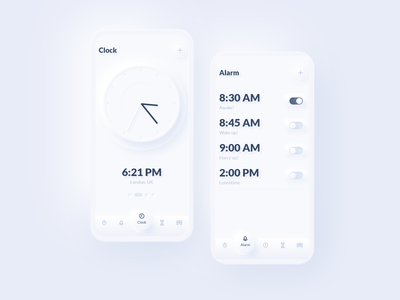 Neumorph Clock clean neomorphism clock app alarms alarm clock alarm app watch alarm time clock ios ux minimal neumorph neumorphism neumorphic mobile design ui app