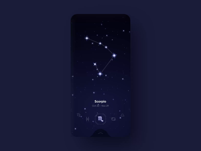 Astrology Horoscope App cosmos ui mobile animation parallax galaxy constellation astrology stars app nightsky space zodiac horoscope