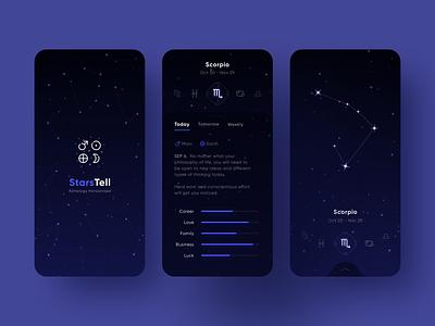 Astrology Horoscope App space cosmos dark mobile app ui constellation galaxy design stars zodiac horoscope astrology