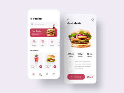 Fast Food App Conept ui mobile ecommerce android main page clean restaurant item card food ios app concept delivery pizza burger fastfood