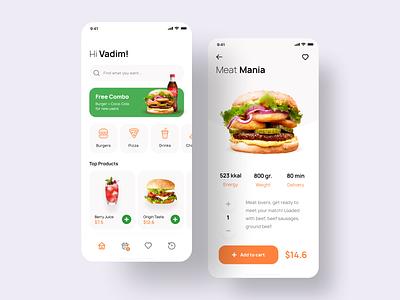 Food App Concept concept eccomerce menu fastfood ui app mobile pizza burger delivery food