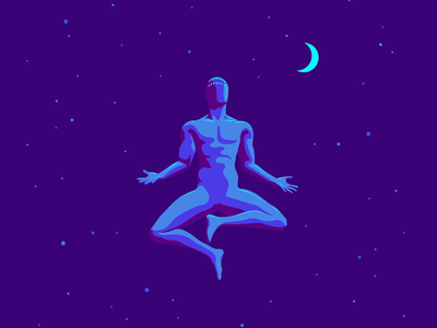 Meditation vector gif night meditation hello dribbble hellodribbble first post first shot debut firstshot animation illustration